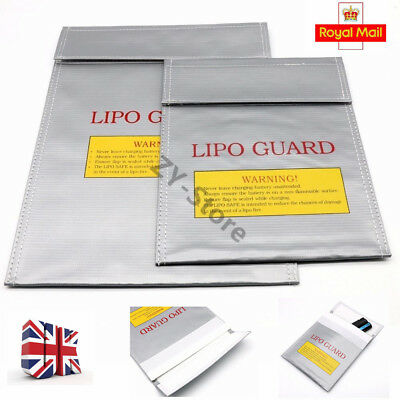 UK 2 Size Glass Fiber Fireproof LiPo Battery Safety Bag Guard Safe Charging Sack