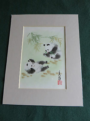 VINTAGE ORIGINAL Chinese Watercolour - PANDAS - Signed by Artist
