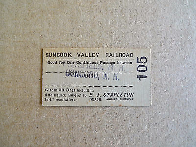 Vintage Antique 1919 Ticket Suncook Valley Railroad Train Concord Pittsfield NH