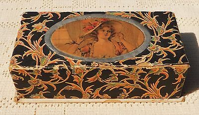 ANTIQUE EARLY 1900's DECORATIVE CANDY BOX - VICTORIAN LADY - GREAT GRAPHICS