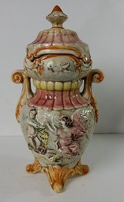 Capodimonte Large Lidded Jar with High Relief Figures