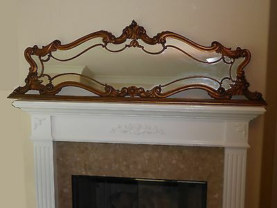 """73"""" Wide Antique French Provincial Rococo Gold Gilt Floral Wall MANTLE MIRROR"""