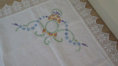 """VINTAGE LINEN HAND EMBROIDERED LACE EDGED TABLECLOTH 42"""" square"""