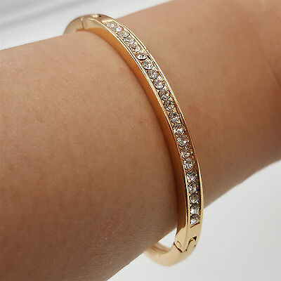 Fad New Exquisite Gold Plated Stainless Steel Lady Cuff Bangle Crystal Bracelet