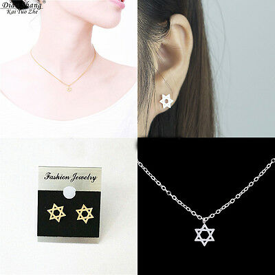 Silver Style Set Lot of Earings+Necklace- Star (Magen) of David -for Women Girls