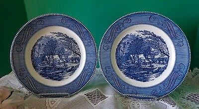 2 Dinner Plates Vtg Blue Currier & Ives Royal China Old Grist Mill