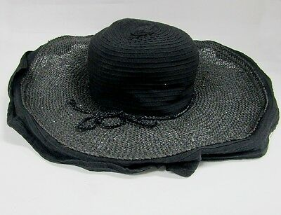 2f1a9337888 New Grevi Firenze Black Sun Hat Cotton Adjustable Ruffled Trim One Size  Italy