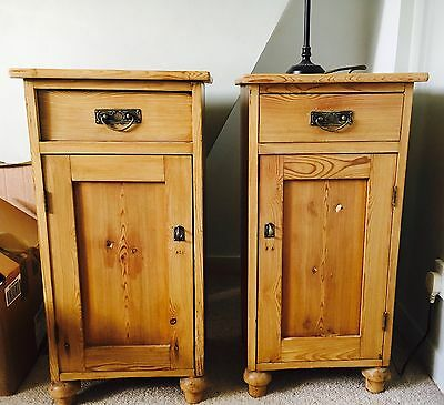 Victorian Antique Pine Pot Cupboards / Bedside Tables