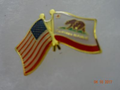california Logo Lapel pin and American flag on the side   New
