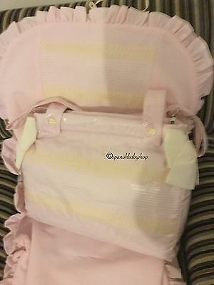 Universal Pram Liner Matching Bag Quality. Spanish Made Pink