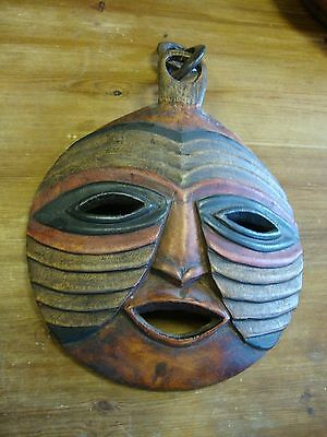 Large Vintage Tribal African Art Wall Hanging Mask -  Carved Hoop hanger