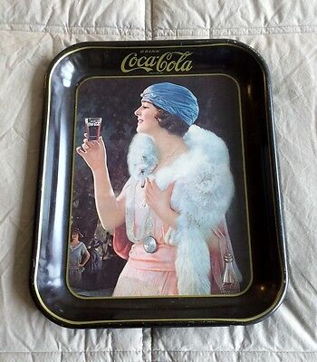 Coca Cola Soda Metal Beer Tin Tray Flapper Girl W Glass Vintage 1970s Coke