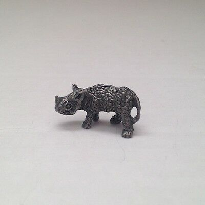 Rhinoceros Rhino Pewter Miniature Animal Figurine Statue Doll House