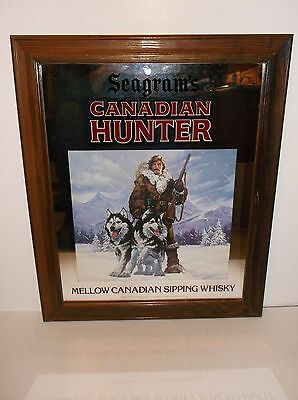 Vintage SEAGRAM'S CANADIAN HUNTER mirrored advertising sign