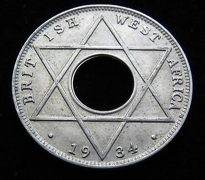 Nice XF/AU 1934 British West Africa One Tenth Of A Penny Coin Lot 524