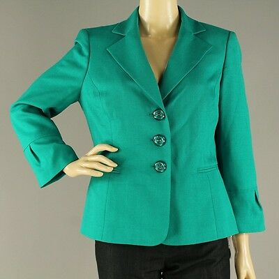 New Le Suit Green Blazer Long Sleeves Button Solid Casual Women's, Size 6