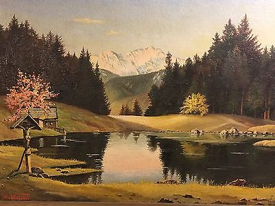 Oil on board Painting.Silent Lake Near Zams In Tyrol-Austria.By Baron Hannes 53