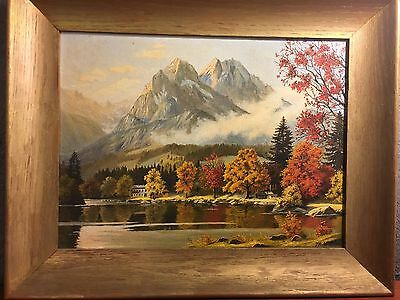 Oil on board Painting. Autumn In Austria.By Baron Hannes 1953.STUNNING