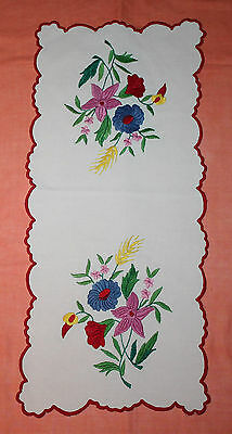 Large Vintage Brightly Coloured Embroidered Table Runner With Scalloped Edge