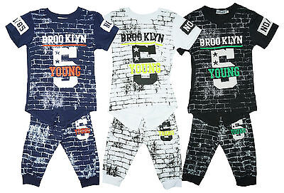 Boys T-Shirt Shorts Braces Tee Outfit Top Brooklyn 5 Wall Print Set 4 - 14 Years