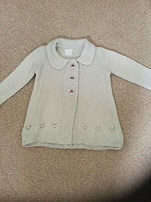 Mamas & Papas baby girl grey long sleeve cardigan with collar age6-9 months