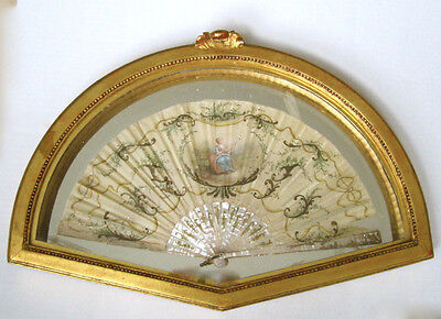 Antique Hand Painted Louis French Silk Fan In Gilded Frame