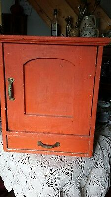 antique rustic painted european wall cupboard