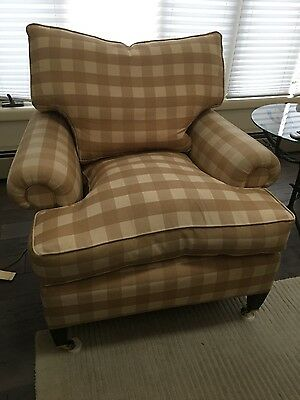 pair of George Smith UK furniture Classic armchairs square tapered legs 2005