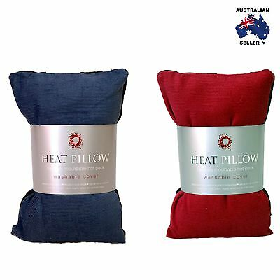 Wheat Bag Heat Pillow - Chill Pillow - Removable Cover - Red or Blue