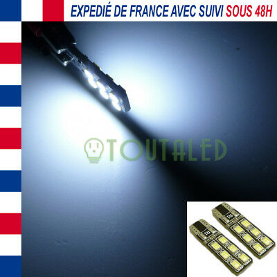 2X Ampoule Lampe 12V T10 W5W Plate 12 Led 2835 Blanc Froid Anti Erreur Tuning