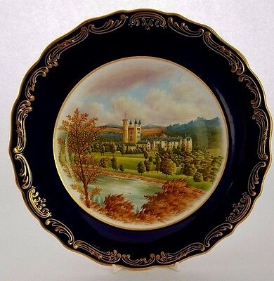 Spode Picture Plate of Balmoral Castle.  Hand Painted by F. Robinson. Ex Cond.