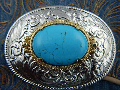 New Handcrafted Silver Metal Belt Buckle Turquoise Colour Western Cowboy Goth
