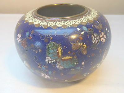 Vintage cloisonne ware small pot-butterfly & flower design