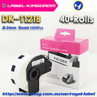 40Rolls Brother Compatible DK-11218 Label 24mm Round 1000Pcs With Plastic Holder