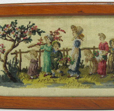 ANTIQUE VICTORIAN BEADED EMBROIDERY  CHILDREN Glazed Wooden Tray BEADWORK  FRAME