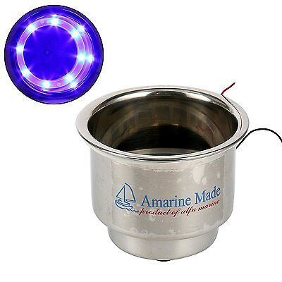 Amarine-made Boat 8 LED Blue Stainless Steel Cup Drink Holder with Drain