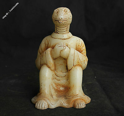 15cm Chinese Dynasty Antique Old Jade Handcarved 12 Zodiac Year Snake Sculpture