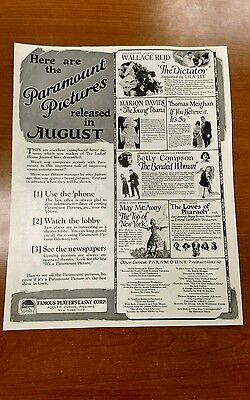 Original 1922 Paramount Pictures Movie advertisement..Be cool framed..