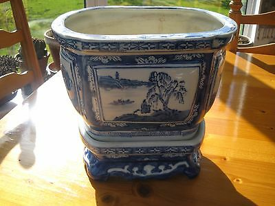 Large vintage blue and white chinese pot with stand and chop mark.