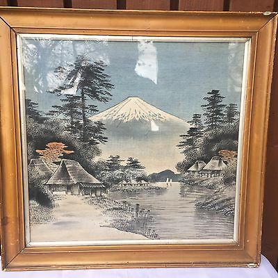 Vintage Large Japanese Painting on Cloth / Silk: Mount Fuji: 62cm x 60cm
