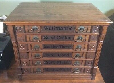 6 drawer ASH OR OAK Willimantic spool thread cabinet with owl