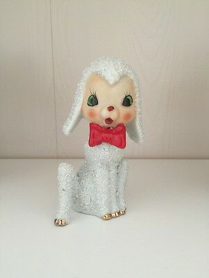 Vintage Anthropomorphic Christmas Salt Glaze White Lamb With Red Bow Japan