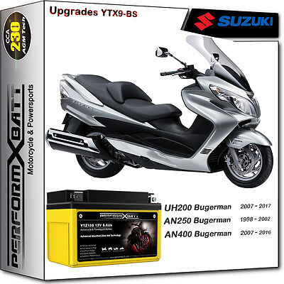 AGM Battery Suzuki Scooter Burgman UH200 07-17 AN250 98-02 AN400 07-16 FTX9-BS