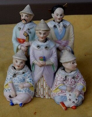 Rare Antique 5 Nodder Heads Figural Grouping Painted Bisque Porcelain German