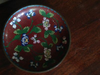 19c CHINA Antique CHINESE CLOISONNE ENAMEL ON BRONZE DARK RED FLORAL PLATE