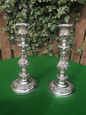 "Pair of Early Antique Ornate Silver Plated Candlesticks 13"" Stamped JW"