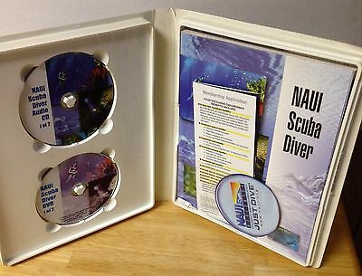NAUI Scuba Diver 2 CDs and 2 DVDs with book and workbook, magnet, bumper sticker