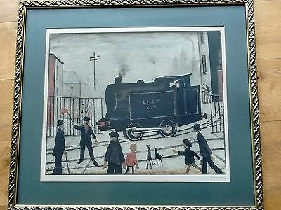 "L S Lowry signed limited edition print ""Level Crossing With Train """
