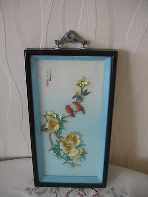 Vintage Chinese Mother of Pearl framed  wall handing picture.