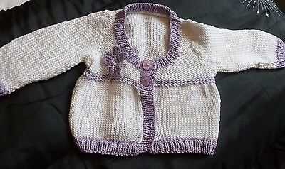 Hand Knitted Baby Cardigan with flower 6 months white / lilac